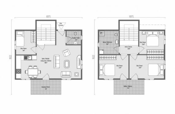 126м2 Спретнат вид Двойни Сглобяеми Къщи