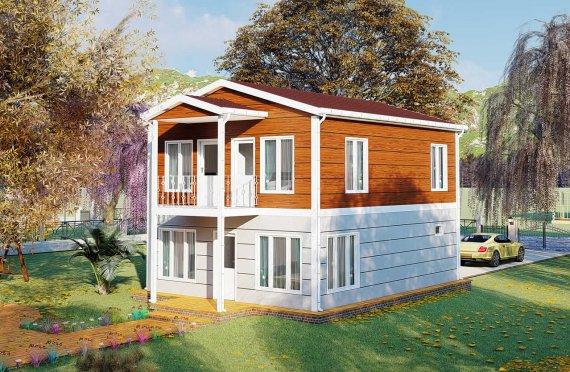 126 м2 Подреден вид Двустранни сглобяеми къщи