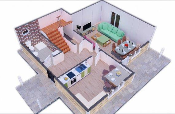 137 м2 Скромна сглобяема къща
