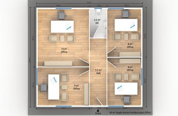 Модулна Офис Постройка  49 м²