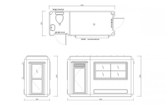 150x390 Мобилна Тоалетна & Охранителна Кабина