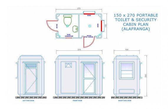 150x270 Мобилна Тоалетна  &  Охранителна Кабина