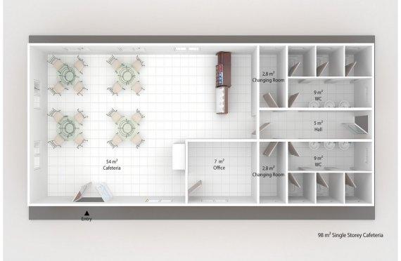 Модулна Кафетерия 98 м²