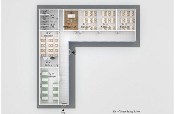 Сглобяема Класна Стая 308 м²