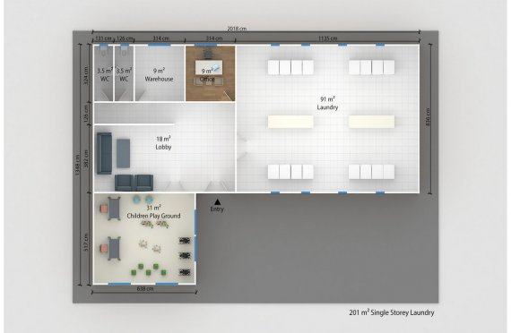 Модулно Перално Помещение 201 м²