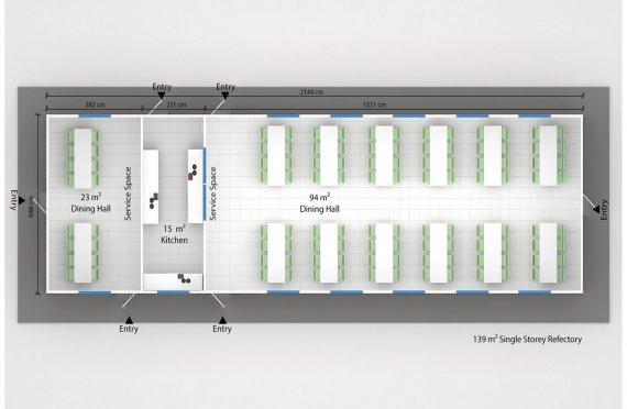 Сглобяема Търговска Кухня 139 м²