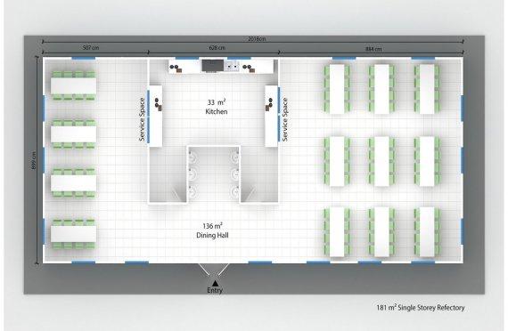 Сглобяема Търговска Кухня 181 м²