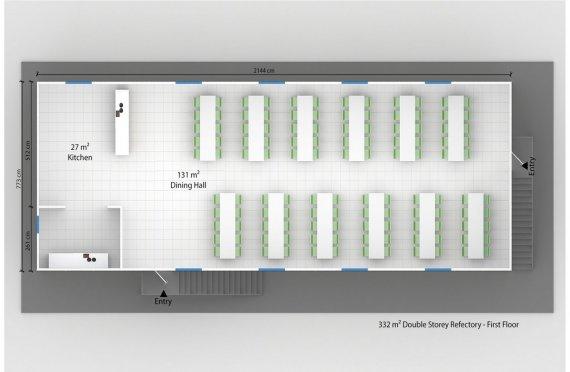 Сглобяема Търговска Кухня 332 м²