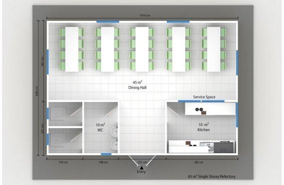 Сглобяема Търговска Кухня 65 м²