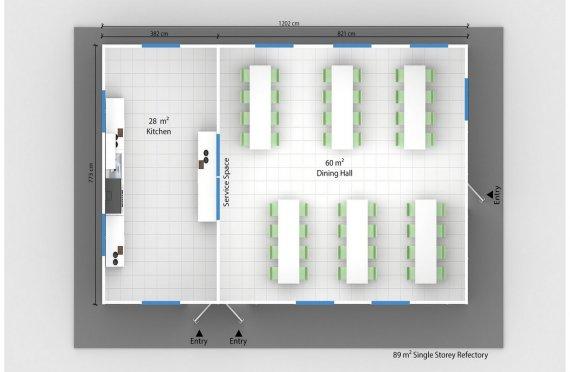 Сглобяема Търговска Кухня 89 м²