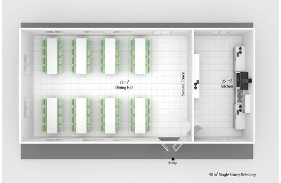 Сглобяема Търговска Кухня 98 м²