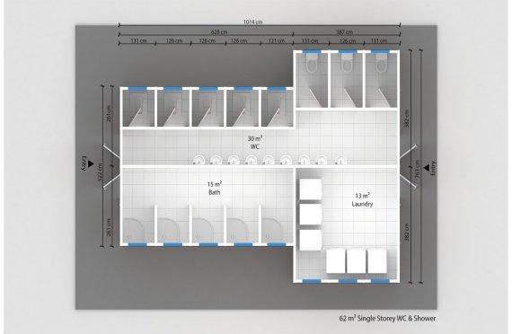 Постройка на Сглобяема Тоалетна & Баня 62 м²