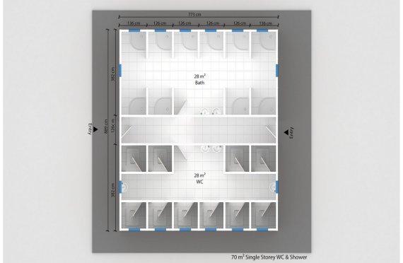 Постройка на Сглобяема Тоалетна & Баня 70 м²