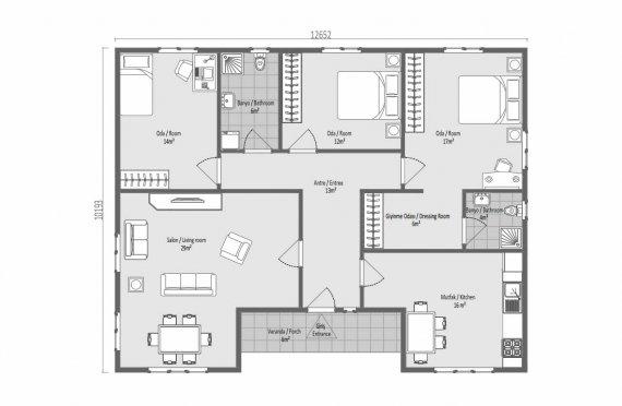 123м2 Модулни Къщи с Висок Покрив