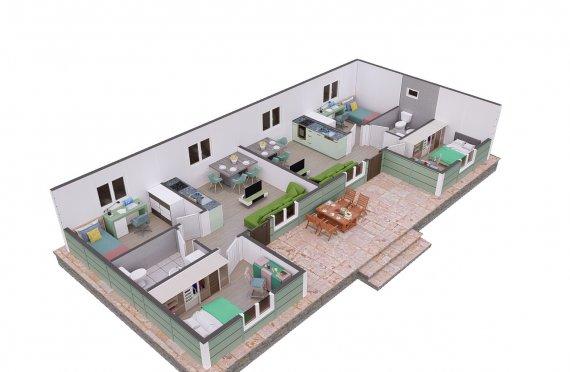 102 м2 модулна стая с 2 отделни легла
