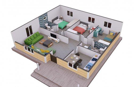 103м2 Модулна Къща с веранда