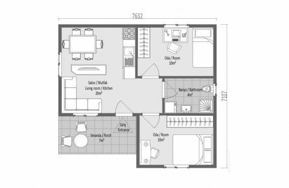 51 м2 Модулни къщи с малка единична стория