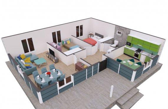 87м2 Модулни Къщи Тип Село
