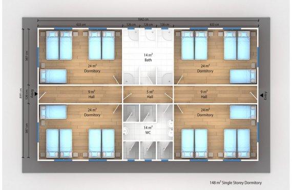 Модулна Единица за Настаняване 148 м²