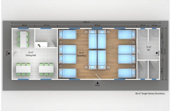 Модулна Единица за Настаняване 86 м²