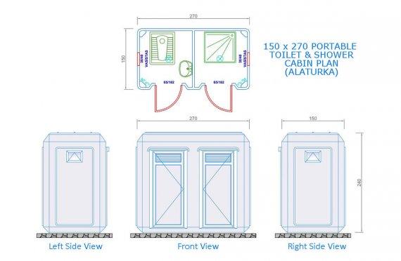 150x270 Мобилна Кабина Тоалетна & Баня