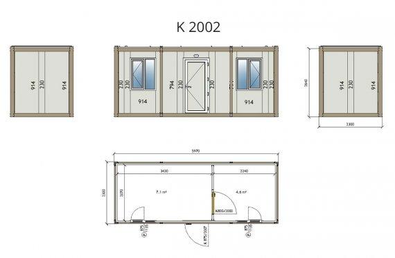 Flat Pack Офис Контейнер K2002