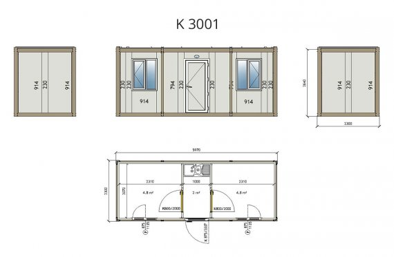 Flat Pack Офис Контейнер K3001