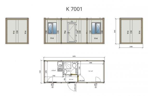 Flat Pack Офис Контейнер K7001