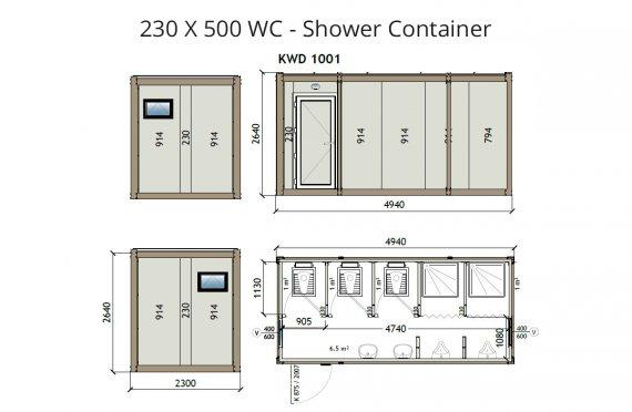 KW6 230X500 Контейнер Тоалетна - Баня