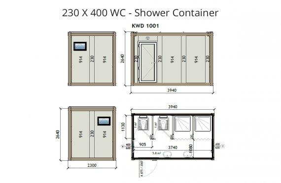 KW4 230X400 Контейнер Тоалетна - Баня