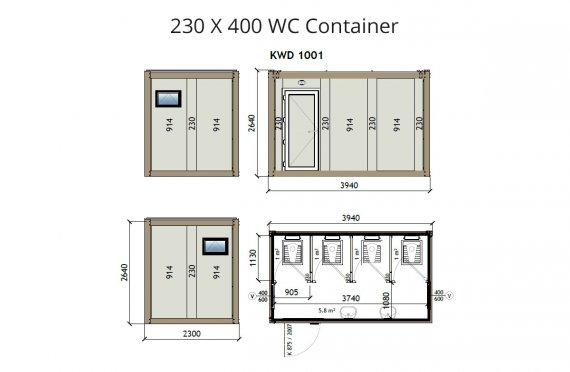 KW4 230X400 Контейнер Тоалетна