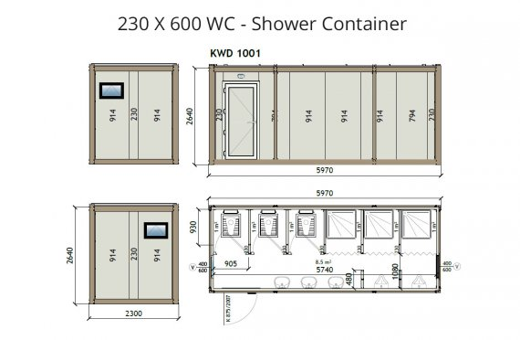 KW6 230X600 KWD 141 Контейнер Тоалетна - Баня